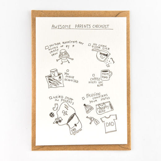Awesome parents checklist kortti -Letterpressed by StudioFlash