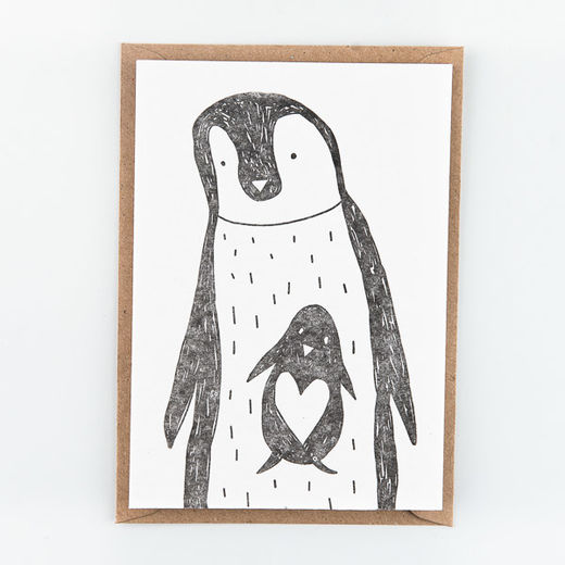 Penguins kortti -Letterpressed by StudioFlash