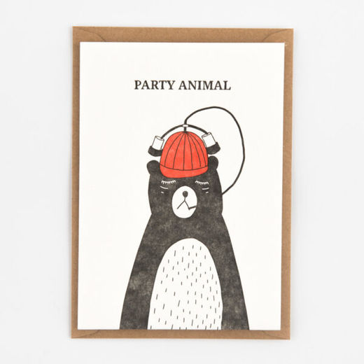 Party Animal kortti -Letterpressed by StudioFlash