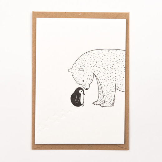 Little penguin meets a polar bear kortti -Letterpressed by StudioFlash